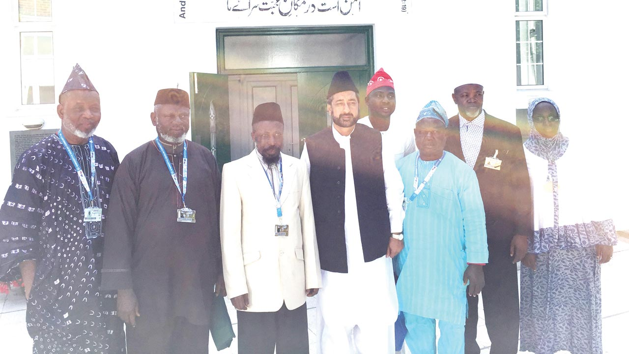 Members of Nigerian delegation at this year's Jalsa Salana of the Ahmadiyya Muslim Association, UK held last weekend in London. Third from left is Amir, Ahmadiyya Muslim Jama'at Nigeria, Dr. Mashhuud Aderenle Fashola