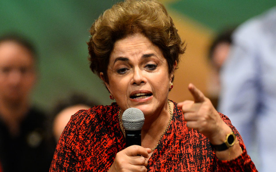 Brazilian suspended President Dilma Rousseff speaks during a Workers' Party rally in Brasilia on August 24, 2016.   Brazil's suspended president Dilma Rousseff enters her final battle to win back power on Thursday, when senators open an impeachment trial expected to remove her from office for good. / AFP PHOTO / ANDRESSA ANHOLETE