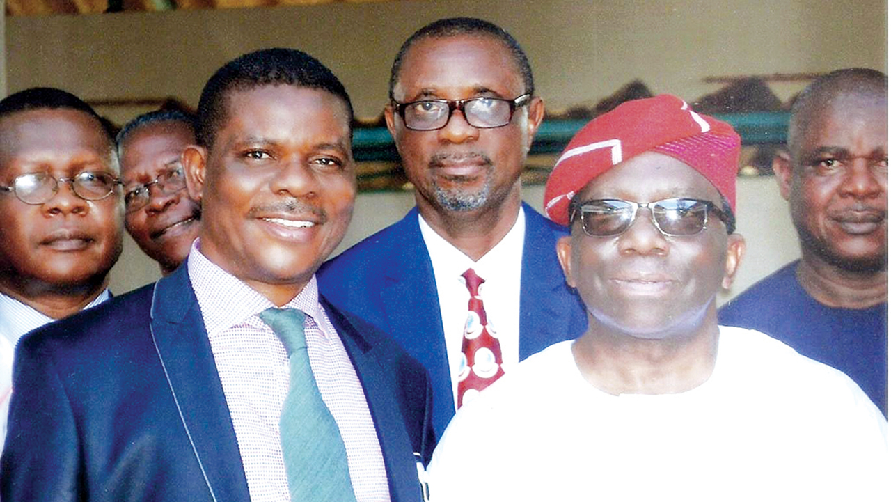 Minister for Health, Prof. Isaac Adewole (right); Medical Director Federal Neuropsychiatric Hospital, Enugu, Dr. Jojo Onwukwe; Chief Medical Director, University of Nigeria Teaching Hospital, UNTH, Ituku-Ozalla, Enugu State, Dr. Chris Amah; and Medical Director, National Orthopaedic Hospital Enugu, Dr. Cajetan Nwadinigwe during the one-day visit of the Minister to UNTH