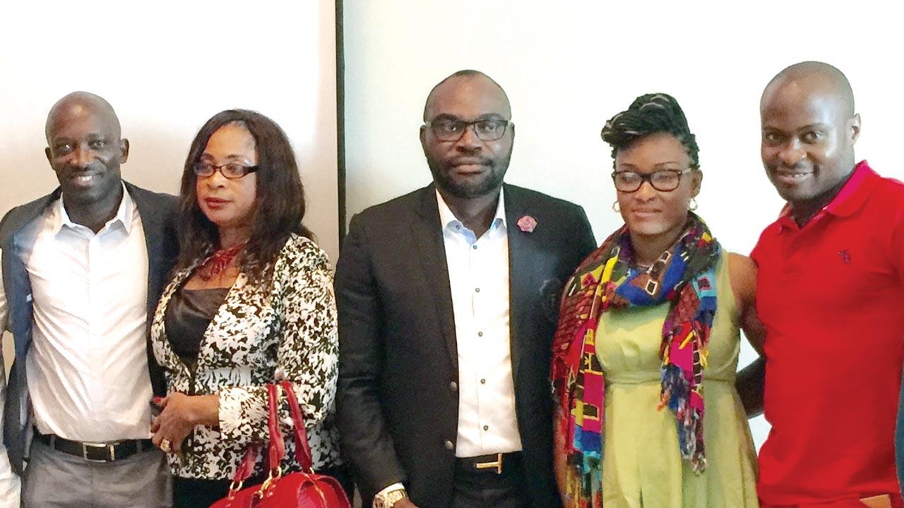 Owner of FROT Group, Frank Momoh (middle), Segun Toriola (left), Secretary General Nigeria Table Tennis Federation (NTTF), Mrs. Chinedu Ezeala-Ogundare, Funke Oshonaike and Aruna Quadri in a group photograph during the award ceremony at Wheatbaker hotel, Ikoyi, Lagos on Saturday.