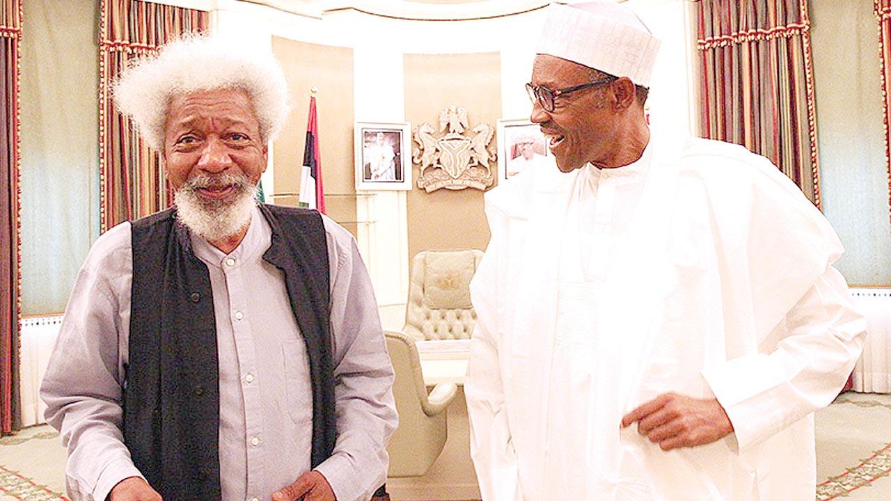 President Muhammadu Buhari (right) and Prof. Wale Soyinka at the State House, Abuja …yesterday. Story on page 3                                PHOTO: PHILIP OJISUA