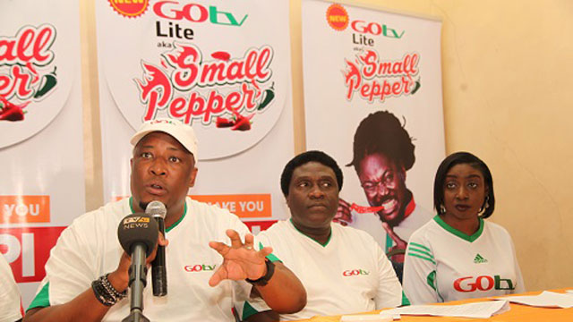 L-R: Martin Mabutho, General Manager, Marketing and Sales, MultiChoice Nigeria; Akinola Salu, General Manager, GOtv and Efe Obiomah, Public Relations Manager, GOtv during the Press Conference on the launch of GOtv Lite aka Small Pepper held at The Regent Hotel, 25, Joel Ogunnaike Street, GRA, Ikeja, Lagos today Tuesday 23rd of August, 2016