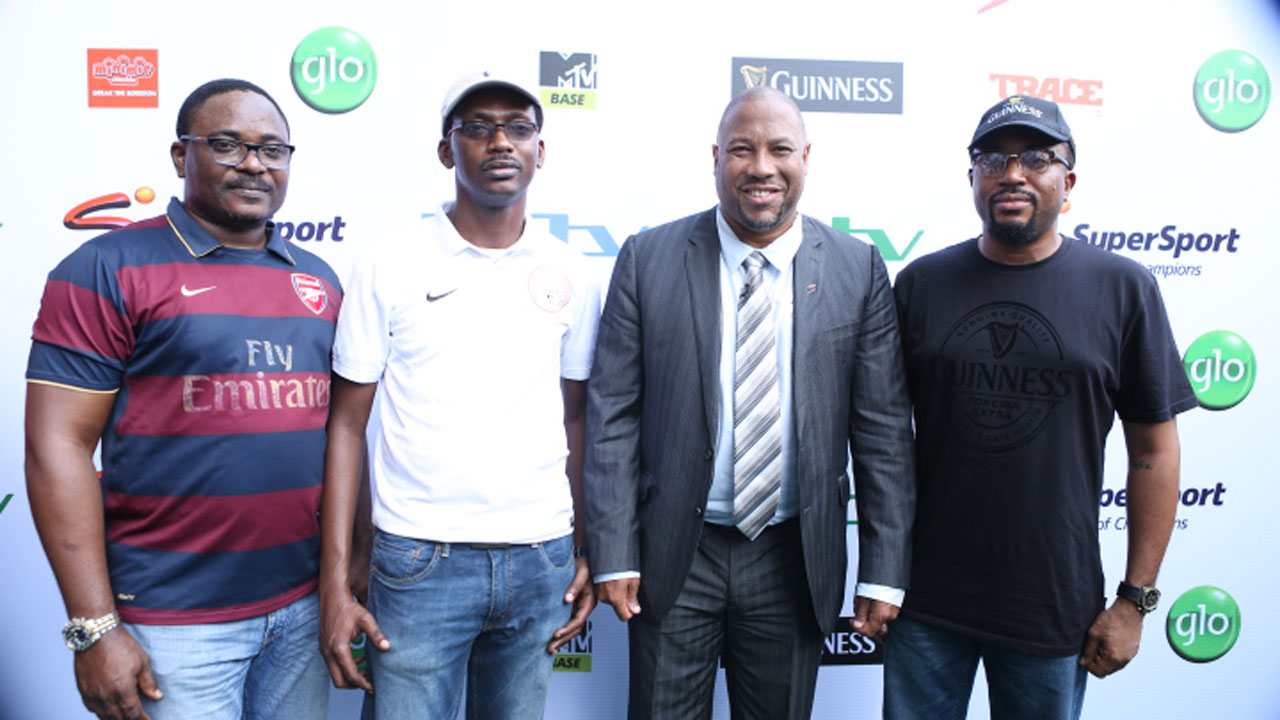Marketing Manager, SuperSport, West Africa, Chidozie Bede-Nwokoye (left); Senior Brand Manager, Guinness, Kunle Faloye; Ex- Liverpool Legend and SuperSport Analyst, John Barnes and Marketing Manager, Guinness, Uche Onwudiwe, at the live screening of the Barclays Premiere League new season in Lagos… at the weekend.