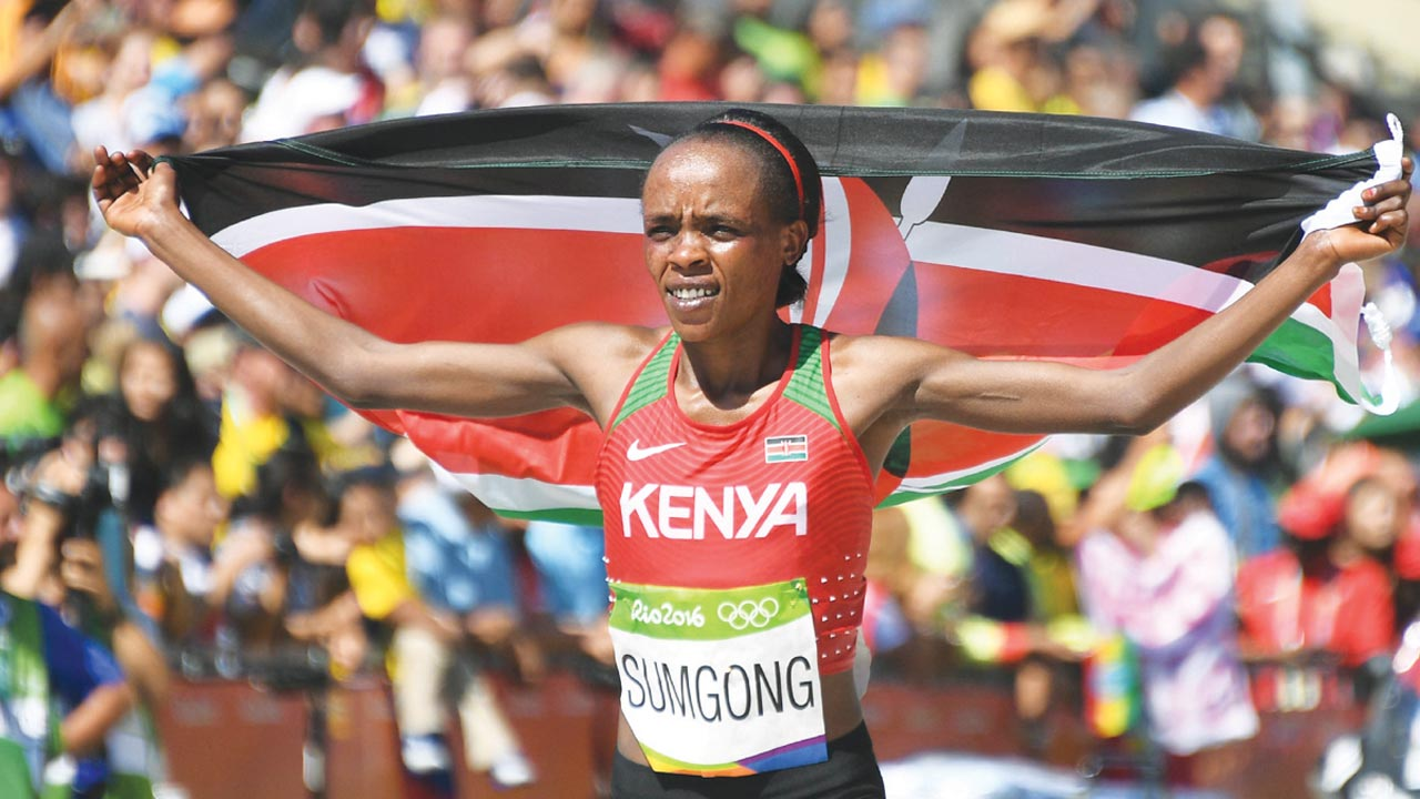Kenya's Jemima Sumgong celebrate her gold medal in Rio…The country's Olympics Committee has been disbanded following complains of poor travel arrangement anf lack of kits for the athletes