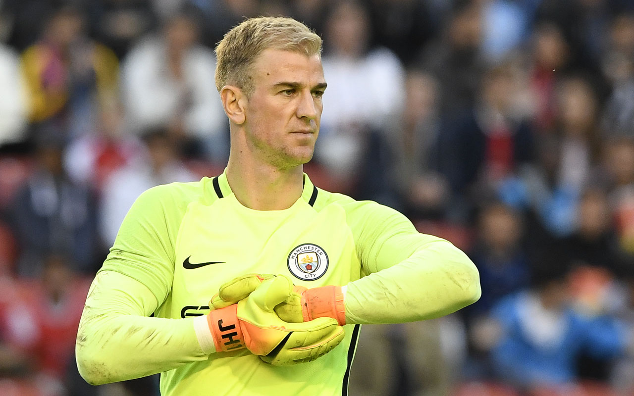 Manchester City's English goalkeeper Joe Hart reacts during a friendly football match between Arsenal and Manchester City at the Ullevi stadium in Gothenburg on August 7, 2016. / AFP PHOTO / JONATHAN NACKSTRAND