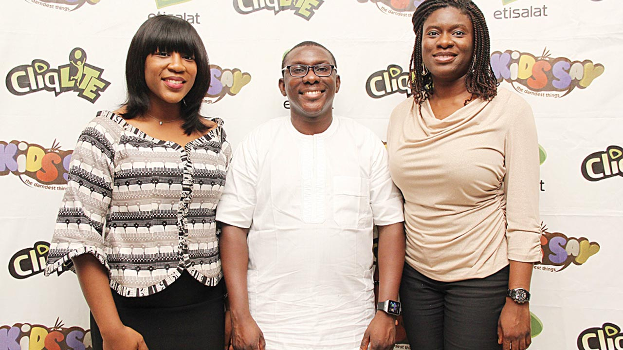 Omotoso (left), Bidemi Ladipo and Orah Egwu all of Etisalat at the Priemere in Lagos.