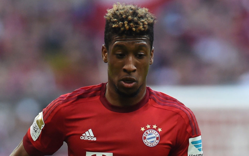 (FILES) This file photo taken on April 16, 2016 shows Bayern Munich's French defender Kingsley Coman controlling the ball during the German first division Bundesliga football match FC Bayern Munich vs Schalke 04 in Munich, southern Germany. Bayern Munich's Kingsley Coman had to be carried out of Wednesday's training session, on August 17, 2016, after suffering an ankle injury as the German champions wait for an exact diagnosis.  / AFP PHOTO / CHRISTOF STACHE