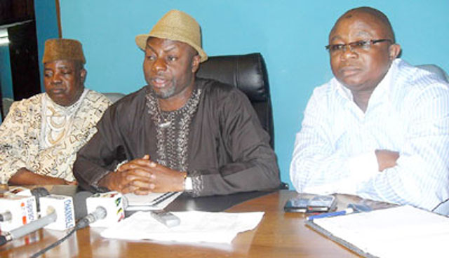 NUPENG's General Secretary, Comrade Elijah Okougbo, Comrade Achese Igwe, President and Comrade Tokunbo Korodo, Chairman, Western Zone of NUPENG, at a recent briefing in Lagos.