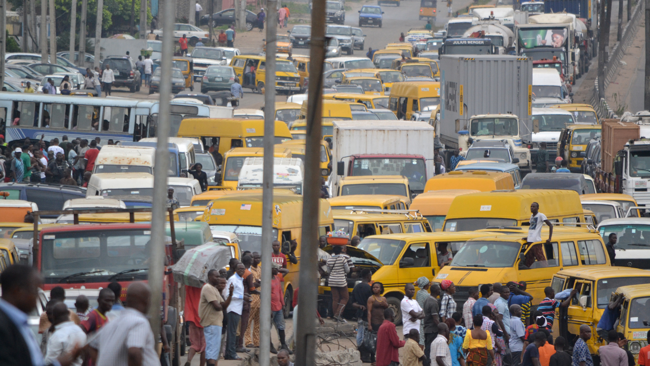 Stranded commuters due to the heavy traffic in Lagos...yesterday