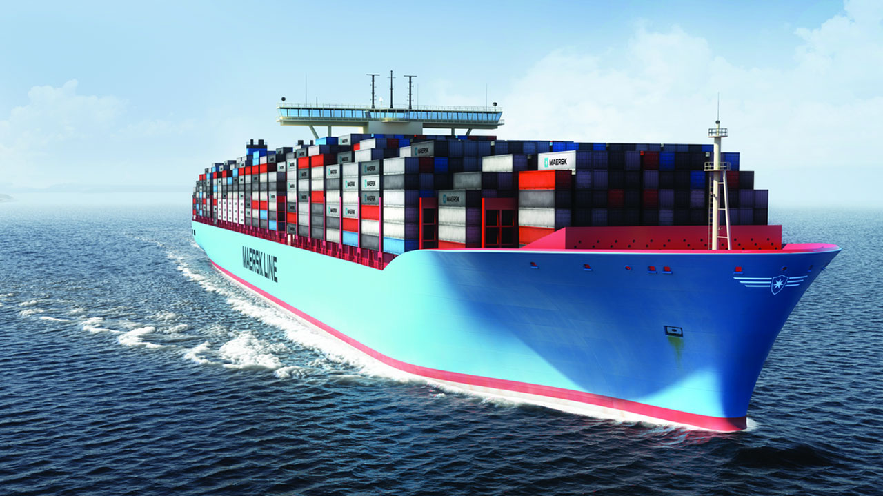 Container vessel on the high sea