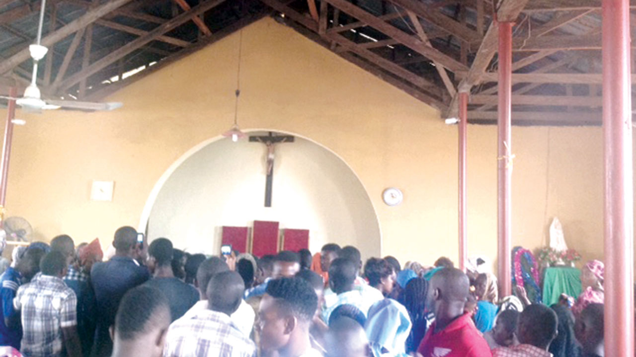 Worshippers at the church