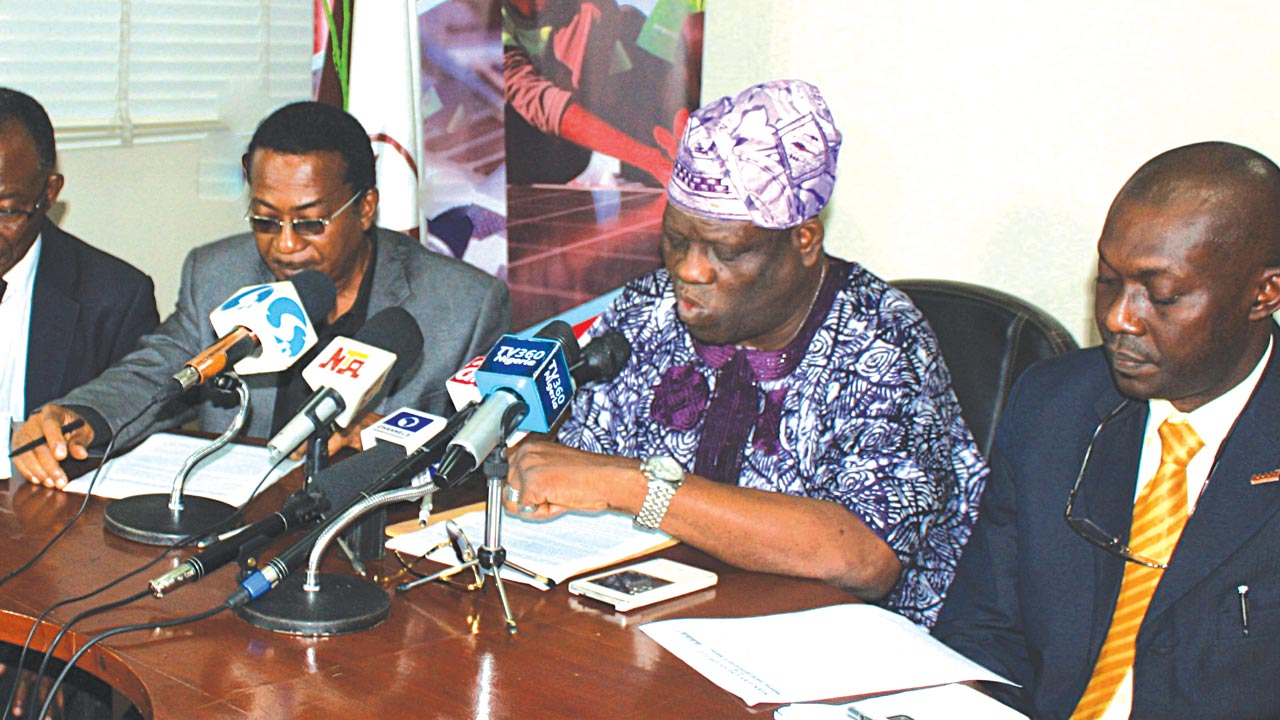 Treasurer, MAN Gas Group, Rev. Martins Olaomoju (left); Ex. Officio, Prince Felix Oba Okojie; Chairman, Dr Micheal Ola Adebayo; and Acting Director-General MAN, Segun Ajayi-Kadir at a press conference to decry the increase in the price of Natural Gas to manufacturers, in Lagos.