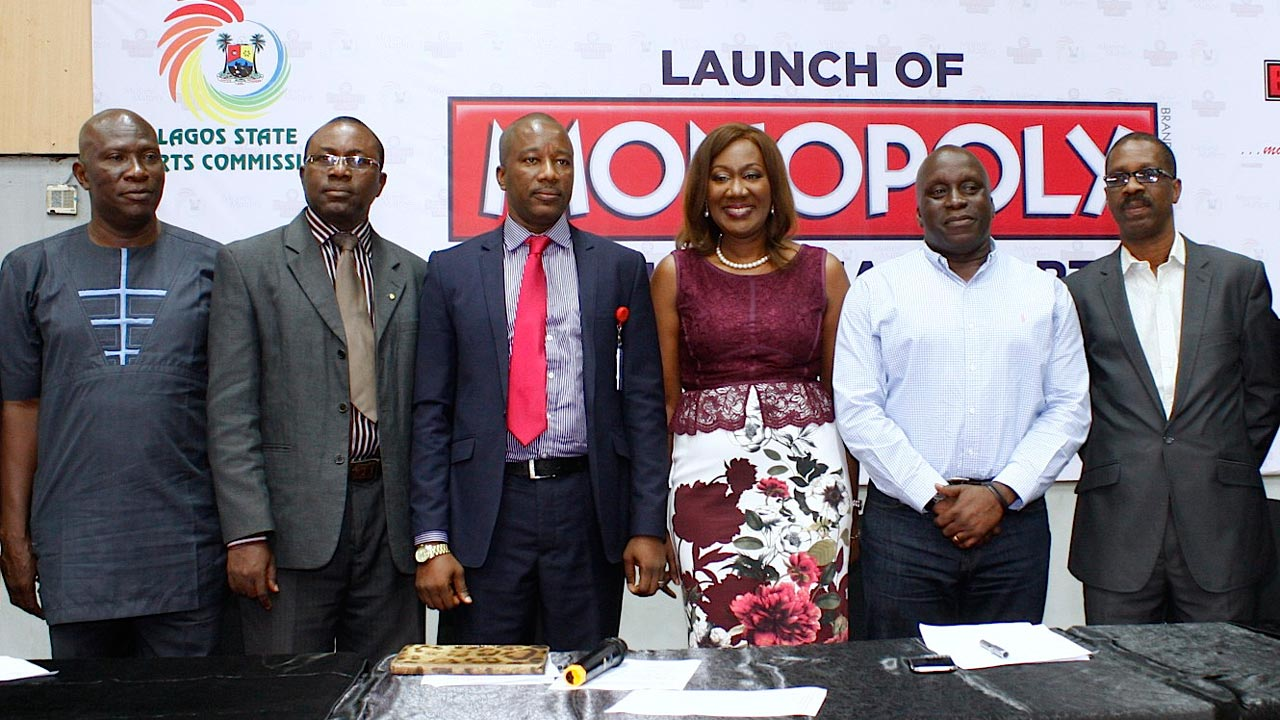 Director, Administrative and Human Resource, Lagos State Sports Council, Segun Osifeko (left); Director, Sports Medicine Department, Dr. Michael Kayode; Office of Overseas Affairs and Investment, Lagos Global, Adelakun Idris; Chief Executive, Bestman GAMES, Nimi Akinkugbe; Chairman, Lagos State Sports Commission, Deji Tinubu and Director General, Lagos State Sports Council, Ayodele Agbesanwa at the Launch of Monopoly as an official Sport in Lagos State, as well as the City of Lagos U-17 Championship… yesterday. PHOTO: FEMI ADEBESIN-KUTI