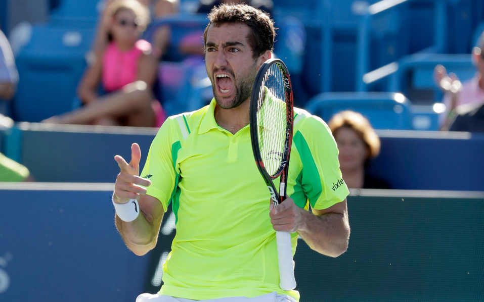 MASON, OH - AUGUST 21: Marin Cilic of Croatia celebrates afte beating Andy Murray in the final match during day 9 of the Western & Southern Open at the Lindner Family Tennis Center on August 21, 2016 in Mason, Ohio. Andy Lyons/Getty Images/AFP