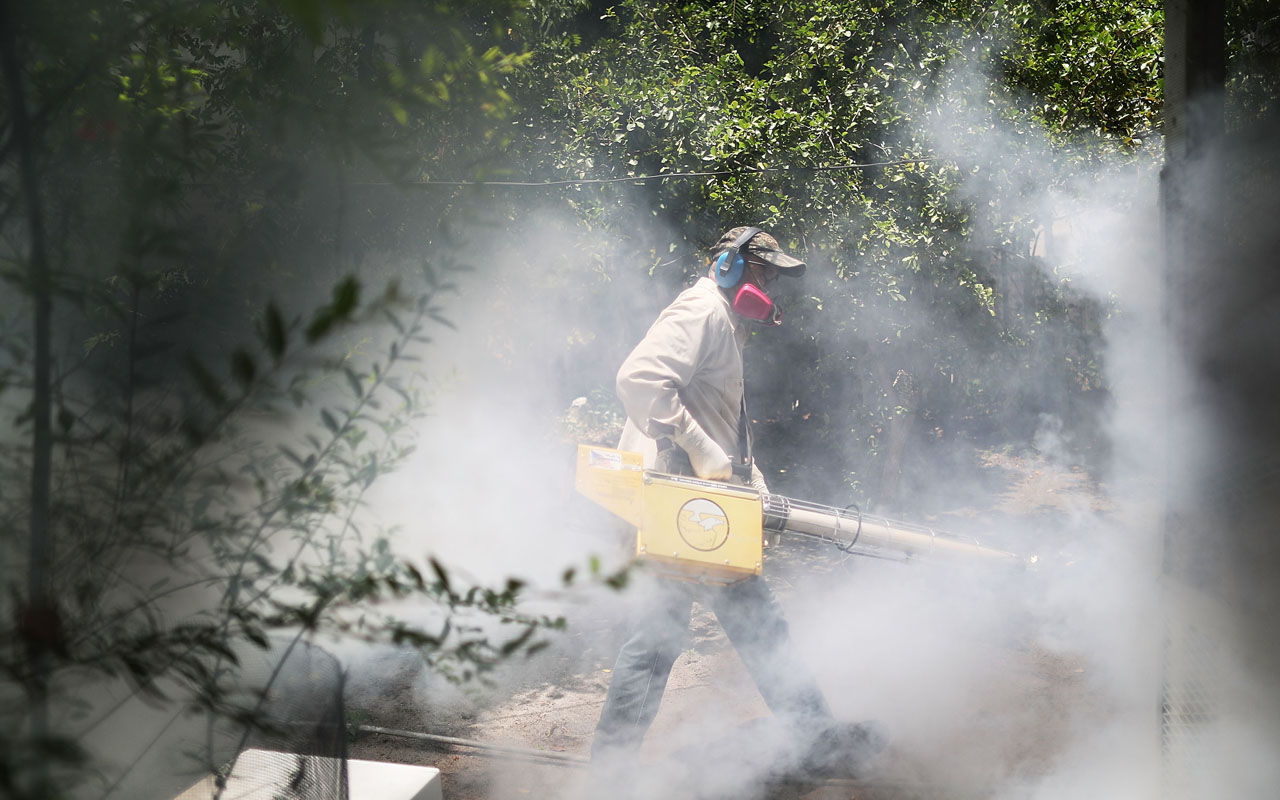MIAMI, FL - AUGUST 02: Carlos Varas, a Miami-Dade County mosquito control inspector, uses a Golden Eagle blower to spray pesticide to kill mosquitos in the Wynwood neighborhood as the county fights to control the Zika virus outbreak on August 2, 2016 in Miami, Florida. There is a reported 14 individuals who have been infected with the Zika virus by local mosquitoes.   Joe Raedle/Getty Images/AFP