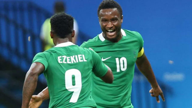 Dream Team VI Captain, Mikel Obi celebrate after a 1-0 win over Sweden on Monday morning