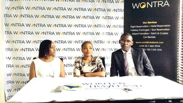 Executive Director, Sales and Marketing, Laitan Faloye (left), MD/CEO of World N Traveland, Funmi Faloye and Head, Customer Service Arinze Adigwe at the briefing in Lagos.