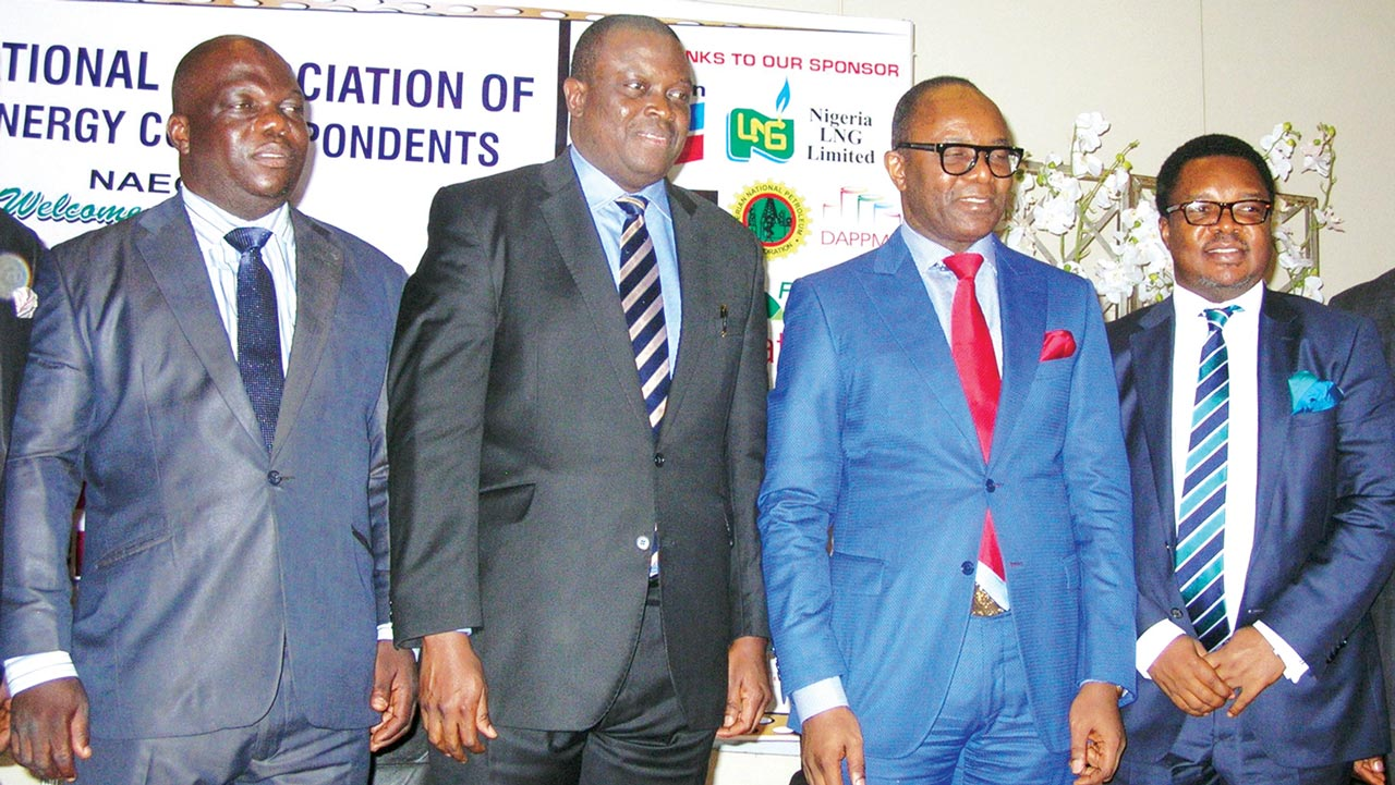 The Chairman, National Association of Energy Correspondent (NAEC), Yusuf Yunus (left); and Managing Director/Chief Executive Officer, Nigeria LNG Limited, Babs Omotowa; Minister of State for Petroleum Resources, Dr. Ibe Kachikwu, acting Managing Director, Niger Delta Power Holding Company (NDPHC),Chiedu Agbo, at the NAEC yearly conference  in Lagos.