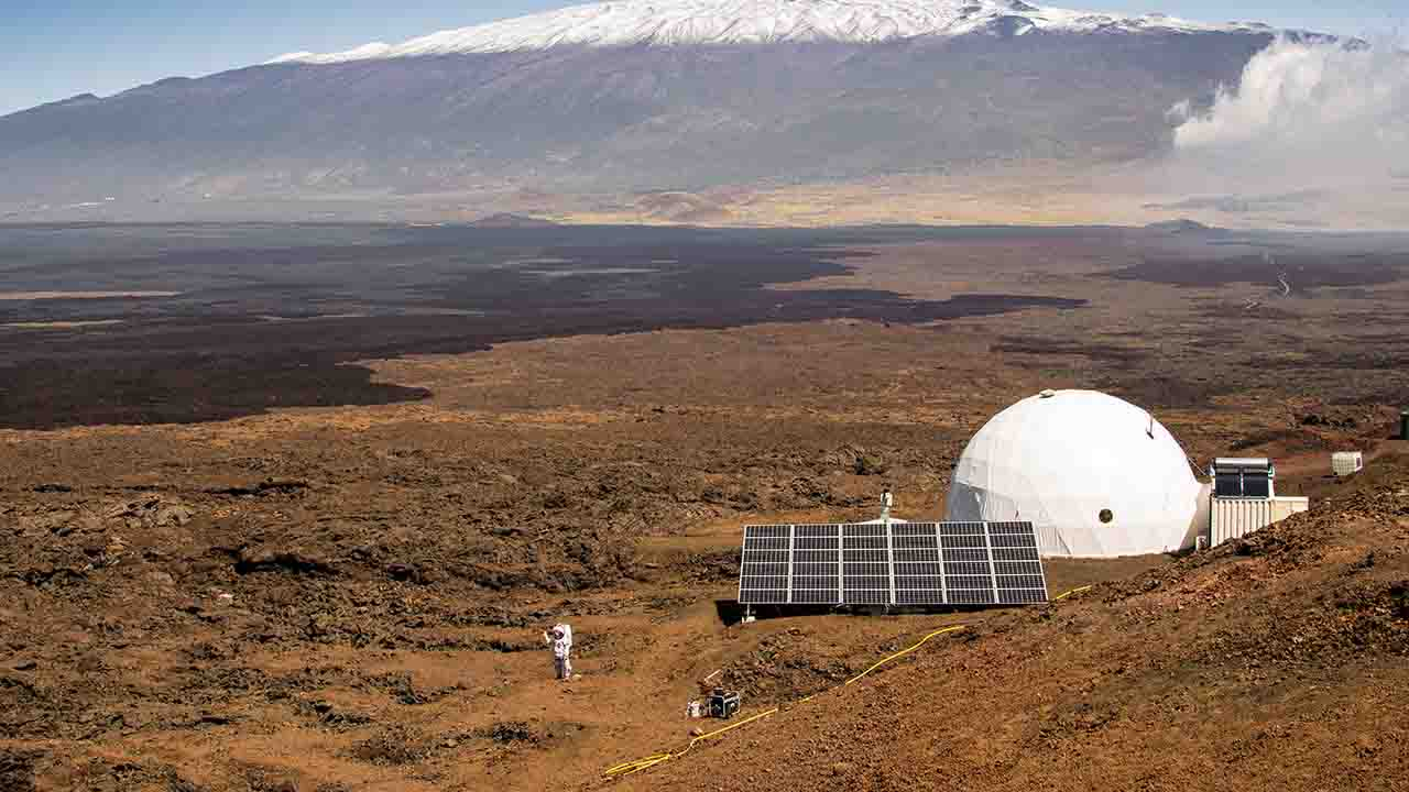 """(FILES): This file photo taken on March 10, 2015, courtesy of the University of Hawaii at Manoa, shows the exterior of the HI-SEAS habitat on the northern slope of Mauna Loa in Hawaii. NASA's Hawaii Space Exploration Analogue and Simulation (HI-SEAS) program officially ended Sunday, August 29, 2016. Six crew members returned to civilization following one-year of isolation. == RESTRICTED TO EDITORIAL USE / MANDATORY CREDIT: """"AFP PHOTO / HANDOUT / University of Hawaii at Manoa / Neil Scheibelhut""""/ NO MARKETING / NO ADVERTISING CAMPAIGNS / NO A LA CARTE SALES / DISTRIBUTED AS A SERVICE TO CLIENTS == / AFP PHOTO / University of Hawaii at Manoa / Neil Scheibelhut / == RESTRICTED TO EDITORIAL USE / MANDATORY CREDIT: """"AFP PHOTO / HANDOUT / University of Hawaii at Manoa / Neil Scheibelhut""""/ NO MARKETING / NO ADVERTISING CAMPAIGNS / NO A LA CARTE SALES / DISTRIBUTED AS A SERVICE TO CLIENTS =="""