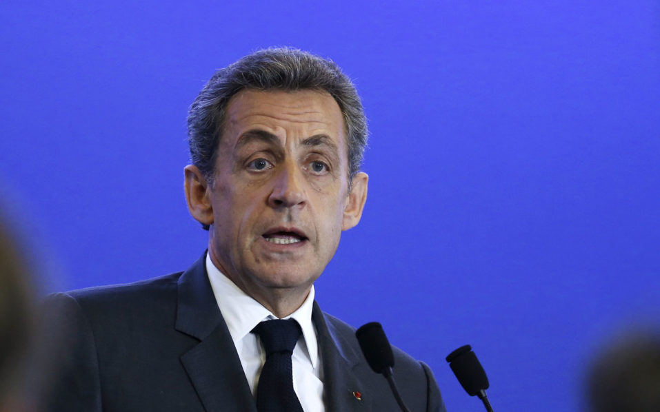 """(FILES) This file photo taken on May 18, 2016 shows France's right-wing Les Republicains (LR) party president Nicolas Sarkozy speaking on Europe at the party's headquarters in Paris. Former French leader Nicolas Sarkozy on August 22, 2016 announced he will seek his party's nomination to stand in next year's presidential election. """"I have decided to be a candidate in the 2017 presidential election,"""" Sarkozy, who was president between 2007 and 2012, wrote in a foreword to a new book to be released on August 24, 2016 and seen by AFP. Sarkozy also posted a link to the extract on his Twitter account. / AFP PHOTO / THOMAS SAMSON"""