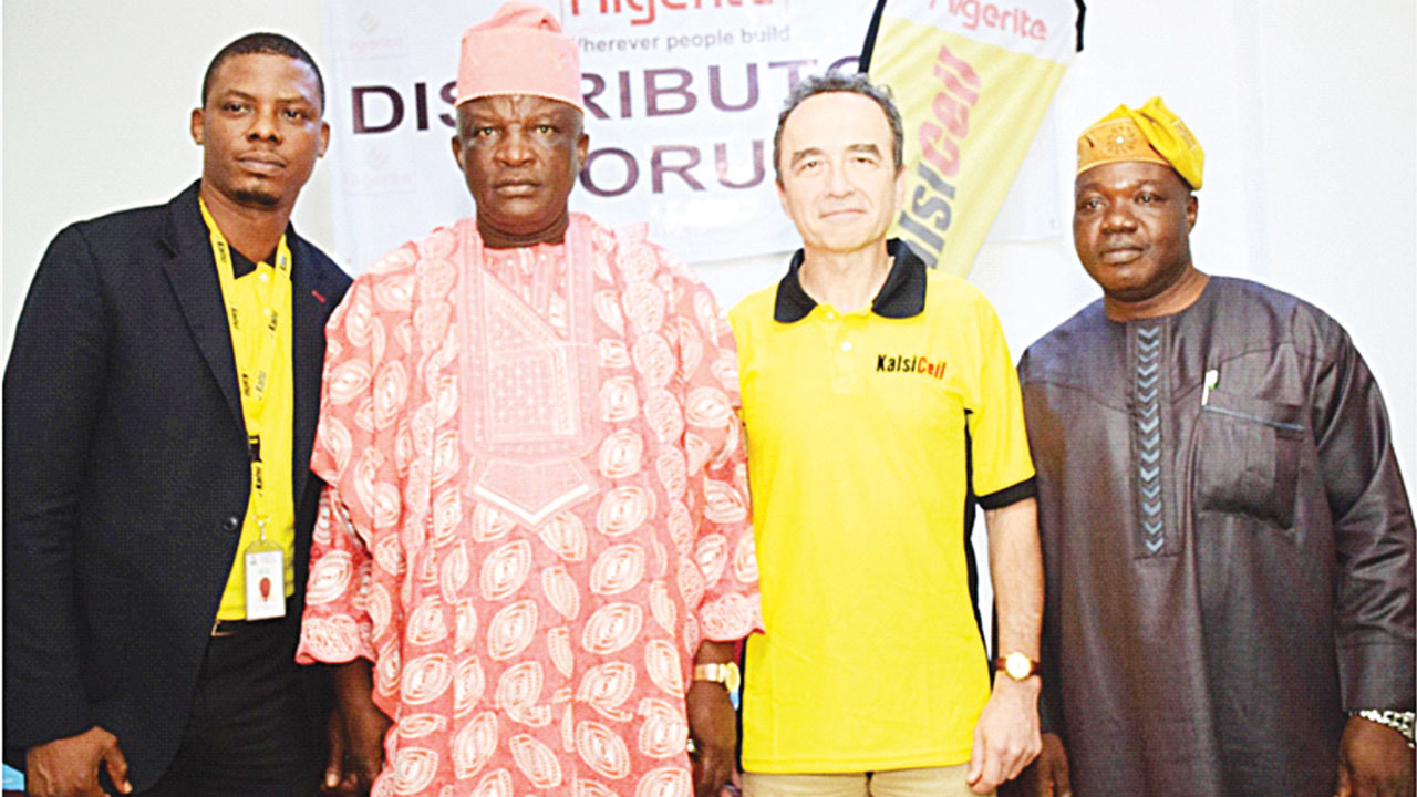 National Technical, Sales Manager, Nigerite Limited, Banjo Abimbola; (left) Managing Director, Asiwaju Agbomeji and Sons, Alhaji Agbomeji Monsuru; Managing Director, Nigerite Ltd, Mr. Frank Le Bris and Chief Executive Officer, David Excellence Ltd, David Shaleye during the company's interactive meeting with distributors at Lagos Airport Hotel, Lagos.