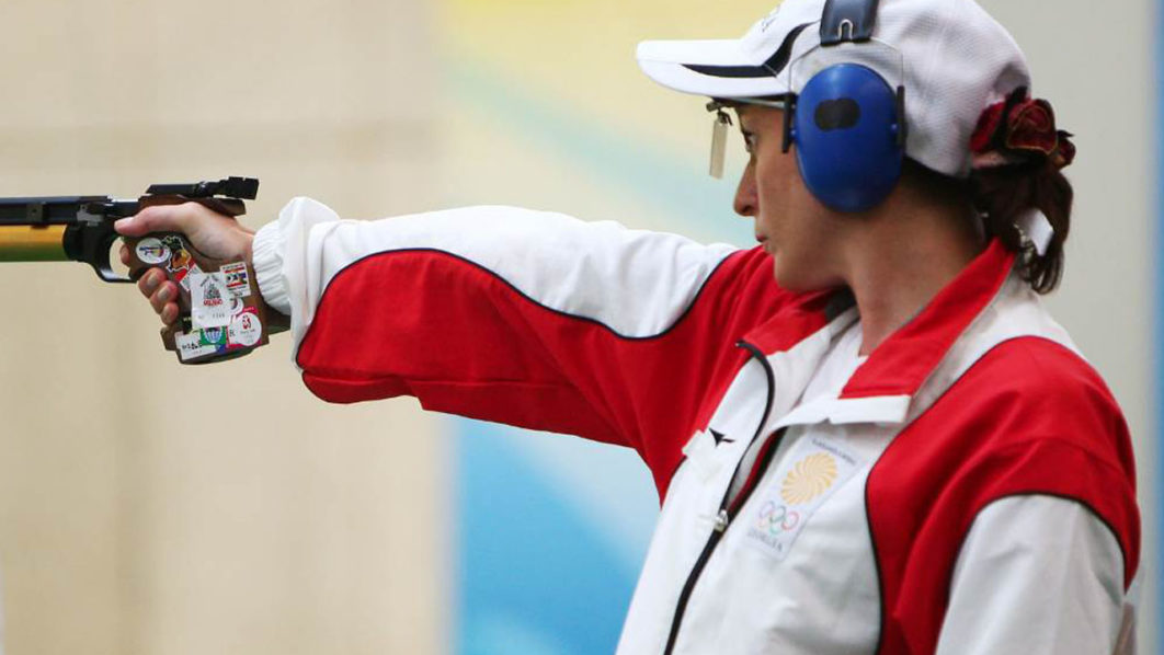 Nino Salukvadze competes in the 10m air pistol on her way to winning Olympic bronze at Beijing 2008 (Photo: Getty Images/Clive Brunskill)