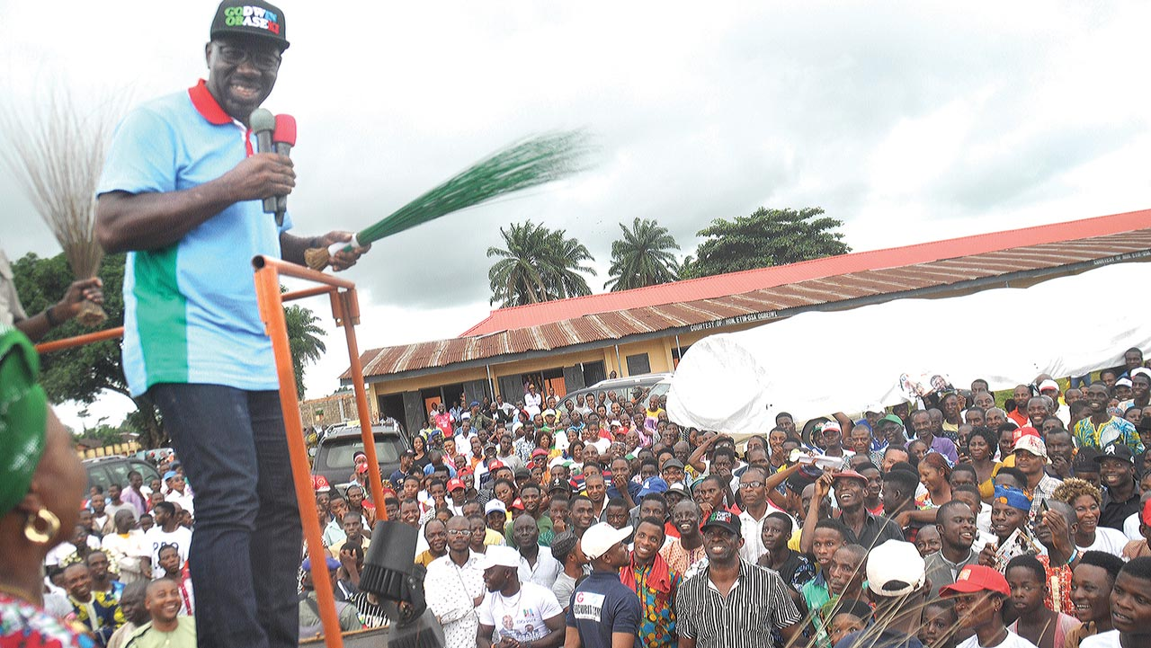 The governorship candidate of the All Progressives Congress (APC), Godwin Obaseki, addressing supporters at Urhonigbe,in Orhiomwon Local Council area… yesterday