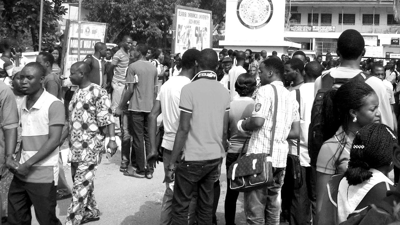 Olabisi Onabanjo University students outside lecture hall