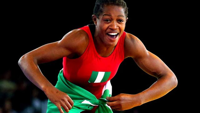 Blessing Oborodudu celebrates her gold medal at the last All African Games in Congo Brazzaville… There was no celebration for her and other Nigerian wrestlers in Rio yesterday