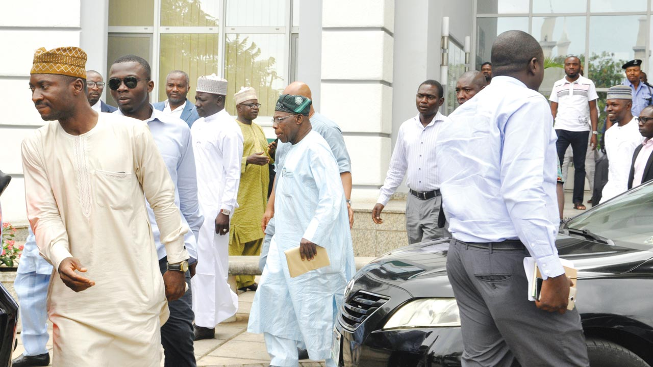 COULD BABA BE STAGING A COMEBACK? Former President and one-time chairman of the Peoples Democratic Party (PDP) Board of Trustees (BoT), Chief Olusegun Obasanjo, sighted at the Shehu Musa Yar'Adua Centre in Abuja, venue of yesterday's inauguration of the party's National Convention Committee. The former President had last year shortly before the general elections made a show of tearing his membership card in disdain for its choice of the President Goodluck Jonathan as it presidential candidate, an action many interpreted to mean he was dumping the party, especially following his romance with the ruling All Progressive Congress (APC). PHOTO: NAN
