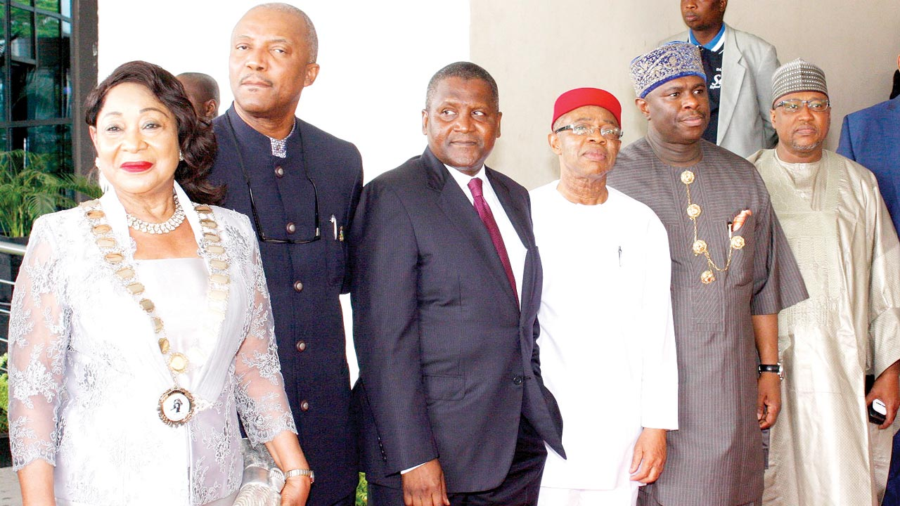President, Lagos Chamber of Commerce and Industry, Mrs. Nike Akande (left); Anambra State Deputy Governor, Dr, Nkem Okeke; President, Dangote Group, Alhaji Aliko Dangote; President, Manufacturers Association of Nigeria, Frank Jacobs; Director-General, Nigerian Maritime Administration and Safety Agency, Dakoru Peterside; and Chairman, House Committee on Finance, Babangida Ibrahim at the LCCI 2016 Presidential Policy Dialogue Session in Lagos…yesterday  								PHOTO: FEMI ADEBESIN-KUTI