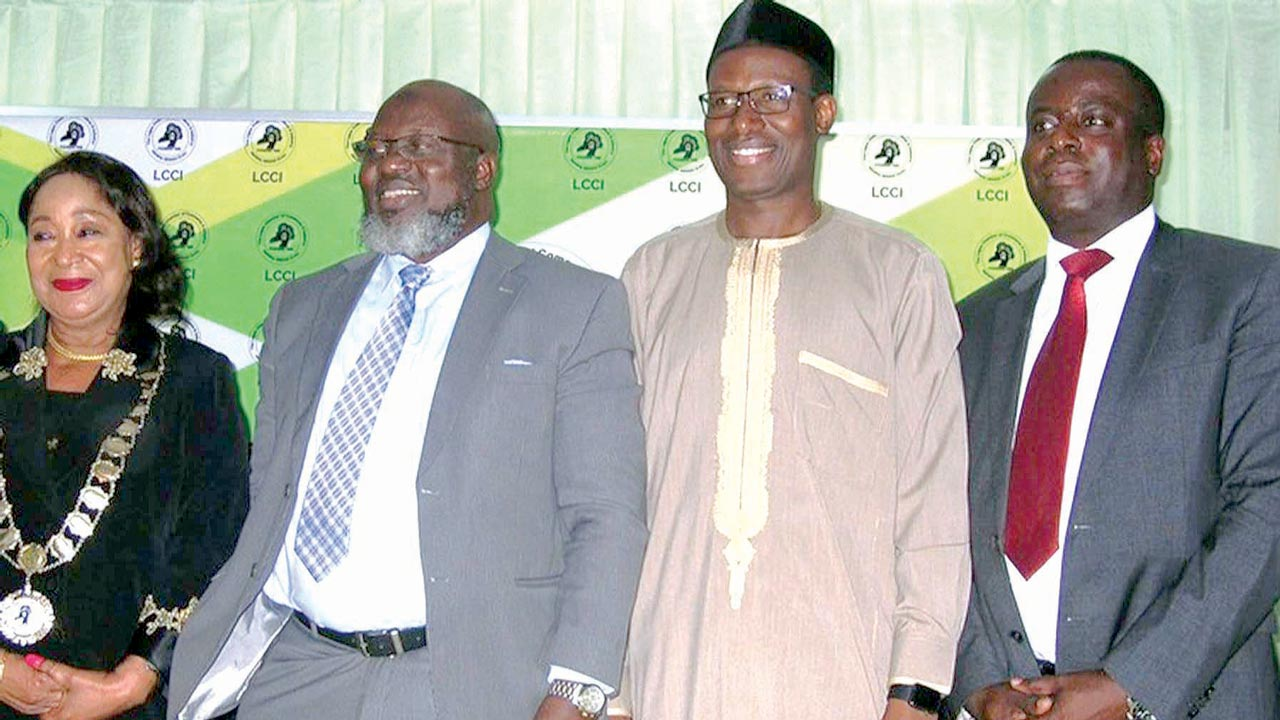 (L-r): Dr Nike Akande, president, Lagos Chamber of Commerce & Industry [LCCI]; Adebayo Shittu, Minister of Communications; Gbenga Adebayo, chairman, Association of Licensed Telecommunications Operators of Nigeria (ALTON); and Olusola Teniola, president, Association of Telecommunications Companies of Nigeria, (ATCON) at the LCCI Communication Services Tax Stakeholders meeting, in Lagos.