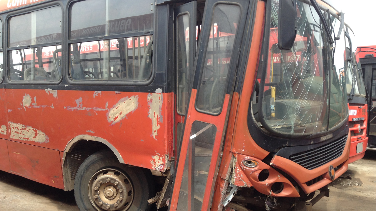 One of the Abuja Mass Transit buses abandoned due to accident.