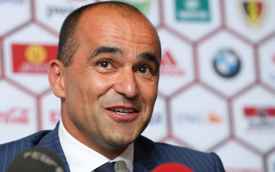 Belgium's football national team new head coach Roberto Martinez gives a press conference on August 4, 2016 at the KBVB-URBSFA Belgian football union headquarters in Brussels.  Former Everton and Wigan coach Spaniard Roberto Martinez has been given the enviable task of leading Belgium's multi-talented national side to the 2018 World Cup in Russia, The Belgian federation said on August 3, 2016. The 43-year-old Spaniard known for building flair sides with a penchant for attack, takes over from the unpopular coach Marc Wilmots, who was fired after a quarter-finals elimination by Wales at Euro 2016.  / AFP PHOTO / BELGA / VIRGINIE LEFOUR / Belgium OUT