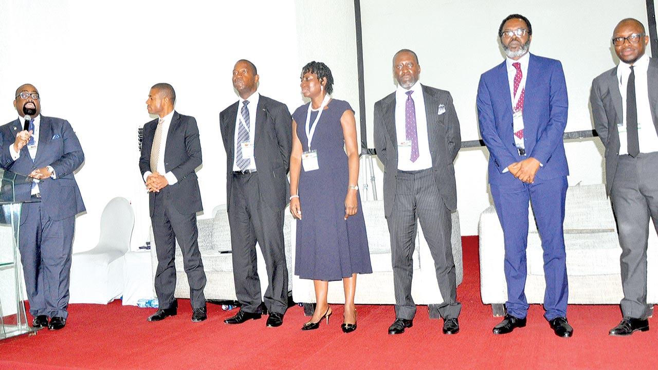 Newly elected NBA-SBL council members: Chair, Olumide Akpata (left); Okey Egbuchu; Dr. Babatunde Ajibade (SAN); Olubunmi Fayokun; Seni Adio; Moyosore Onigbanjo (SAN) and Mena Ajakpovi.