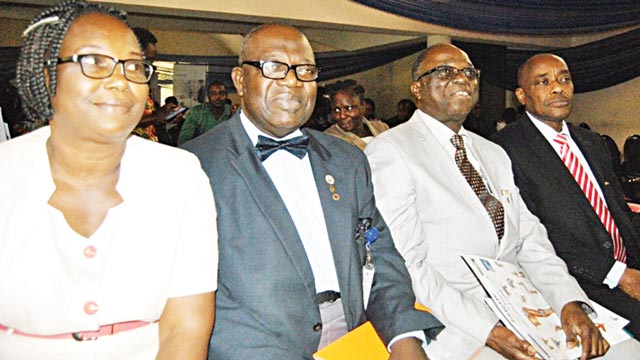 National President, Society for the Study of Pain, Nigeria,Prof. Folayemi Faponle (left); Chief Consultant and School of Anesthetic Studies, Badagry, Lagos, Comdr. Niyi Oladapo; Consultant Physiotherapist, Ile-Ife, Prof. Mathew Olaogun; and Guest Speaker, Dr. Olufemi Adelowo during the 19th Eko 2016 Annual Conference of Society for the Study of Pain, Nigeria at Lagos State Teaching Hospital, Lagos      PHOTO; SUNDAY ADESANYA.