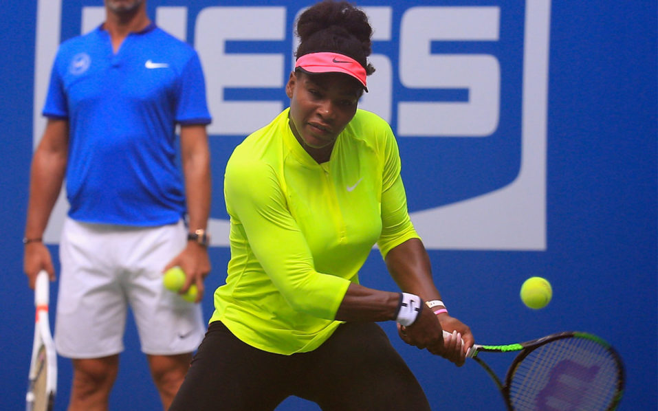 NEW YORK, NY - AUGUST 26: Serena Williams of the United States hits the ball during a practice session prior to the start of the 2016 US Open at the USTA Billie Jean King National Tennis Center on August 26, 2016 in the Queens borough of New York City.   Chris Trotman/Getty Images for USTA/AFP