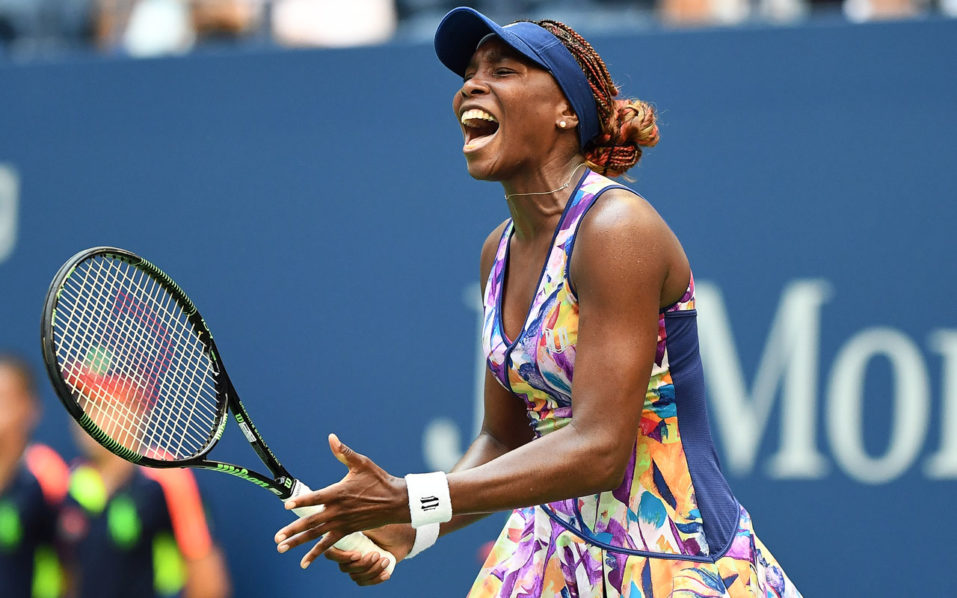 Venus Williams of the US reacts to losing a point against Kateryna Kozlova of Ukraine during their 2016 US Open Women's Singles match at the USTA Billie Jean King National Tennis Center in New York on August 30, 2016.  / AFP PHOTO / Jewel SAMAD