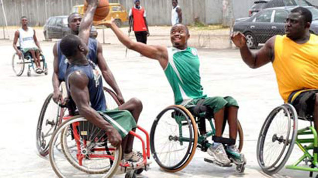 Wheelchair basketballers preparing for the 2016 Victor Ochei championship in Lagos.