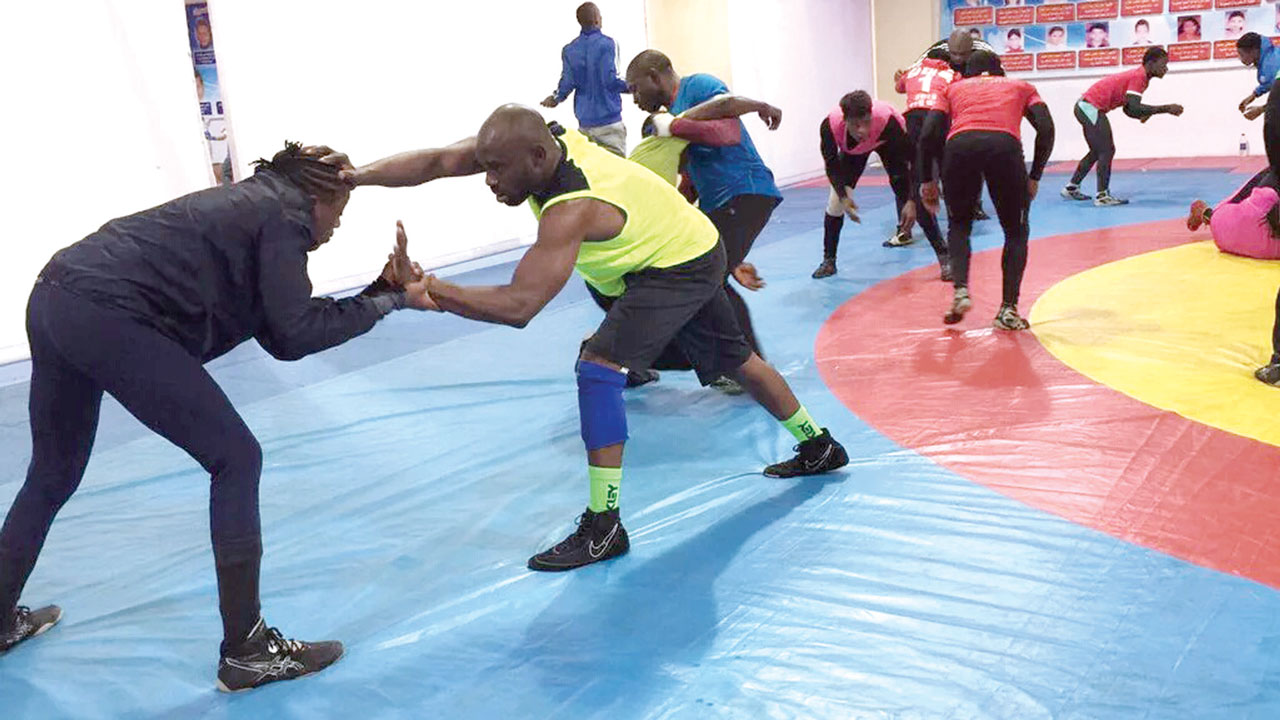 Some of the wrestlers in action during the recent national invitational tournament in Awka.