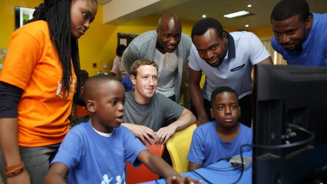 Facebook CEO Mark Zuckerberg at the 'Summer of Code Camp' at the Co-Creation Hub (CcHub), Yaba on his first visit to Nigeria. PHOTO: FACEBOOK/ MARK ZUCKERBERG