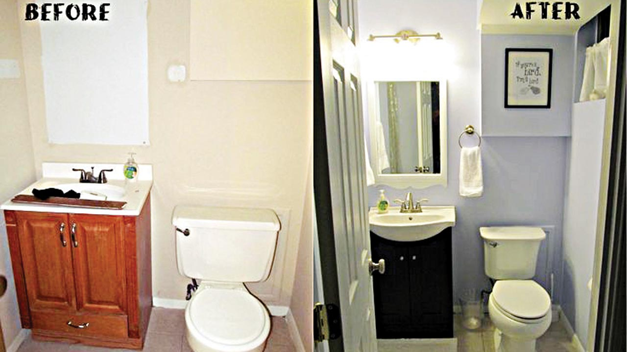 Remodeling on a dime bathroom edition saturday magazine for Simple bathroom design ideas