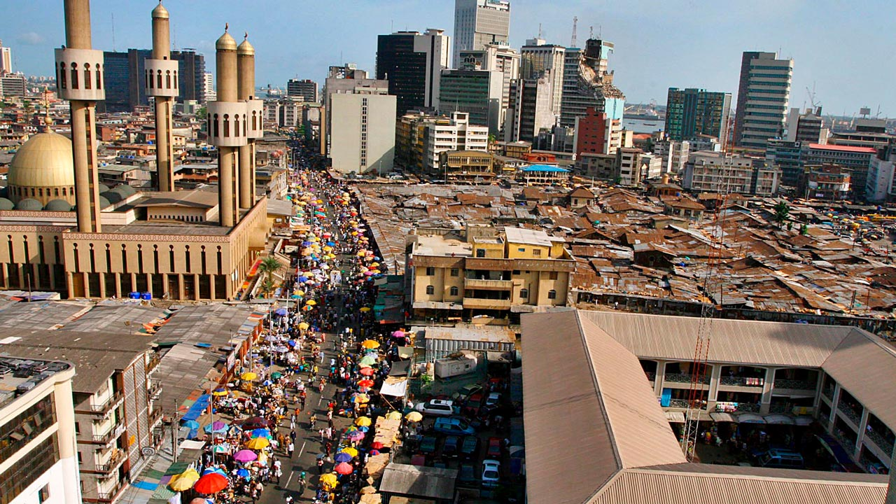 Aerial view of buildings and markets on Lagos Island.