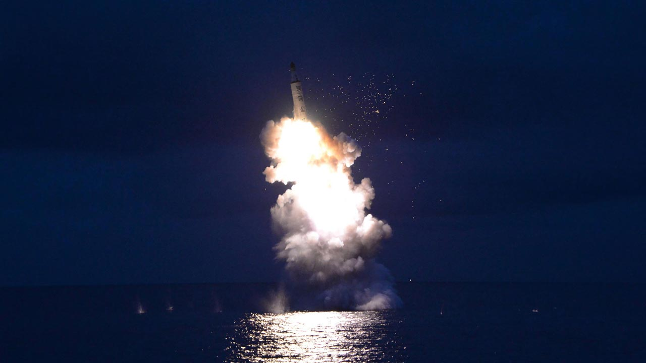 This undated picture released from North Korea's official Korean Central News Agency (KCNA) on August 25, 2016 shows a test-fire of strategic submarine-launched ballistic missile being launched at an undisclosed location. KNS / KCNA / AFP