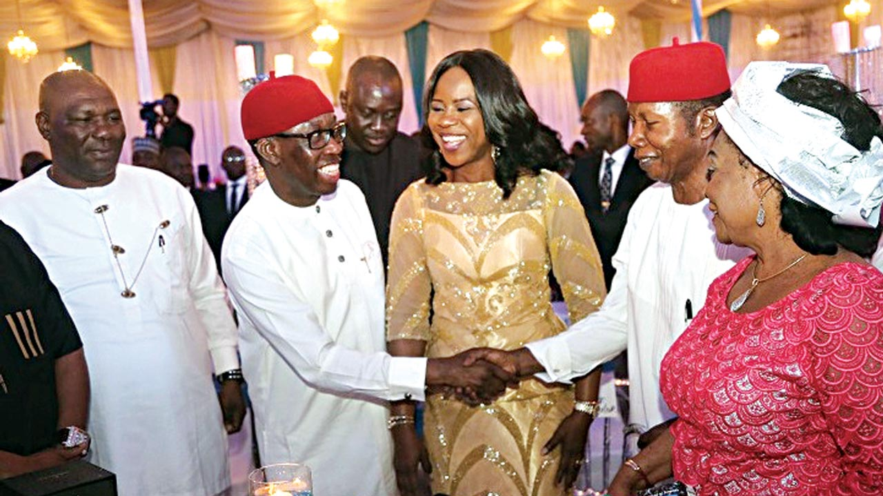 Deputy Governor Kingsley Otuaro (left), Governor Ifeanyi Okowa, his wife, Dame Edith, first Military Administrator, Air Commodore Luke Ochulor and wife during a dinner to mark the state's silver jubilee in Asaba… at the weekend