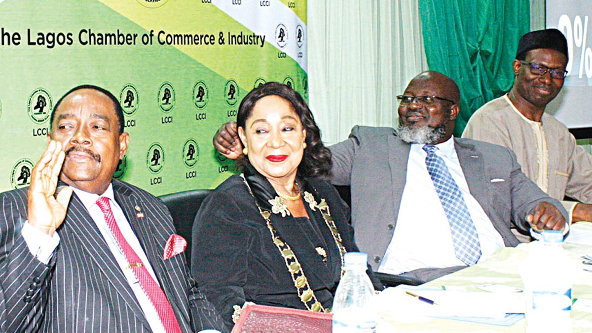 Chairman, Trade Promotion Board, Lagos Chamber of Commerce and Industry (LCCI), Michael Olawale-Cole (left); President (LCCI), Mrs, Nike Akande; Minister of Communication, Adebayo Shittu; and Chairman, Associations of Licensed Communications Operators of Nigeria, Gbenga Adedayo at the LCCI Communications Tax Bill Forum in Lagos…yesterday PHOTO: FEMI ADEBESIN-KUTI
