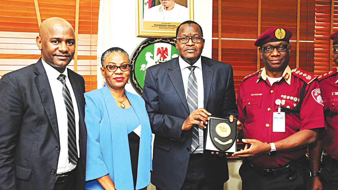 Chief of Staff to the Executive Vice Chairman, Nigerian Communications Commission (NCC), Usman Mallah (left); Director, Project, NCC, Ayodeji Sofolahan; Executive Vice Chairman/CEO, NCC, Prof. Umar Danbatta and Corps Marshal, Federal Road Safety Commission (FRSC), Boboye Oyeyemi, during a courtesy visit to the NCC's headquarters inAbuja.