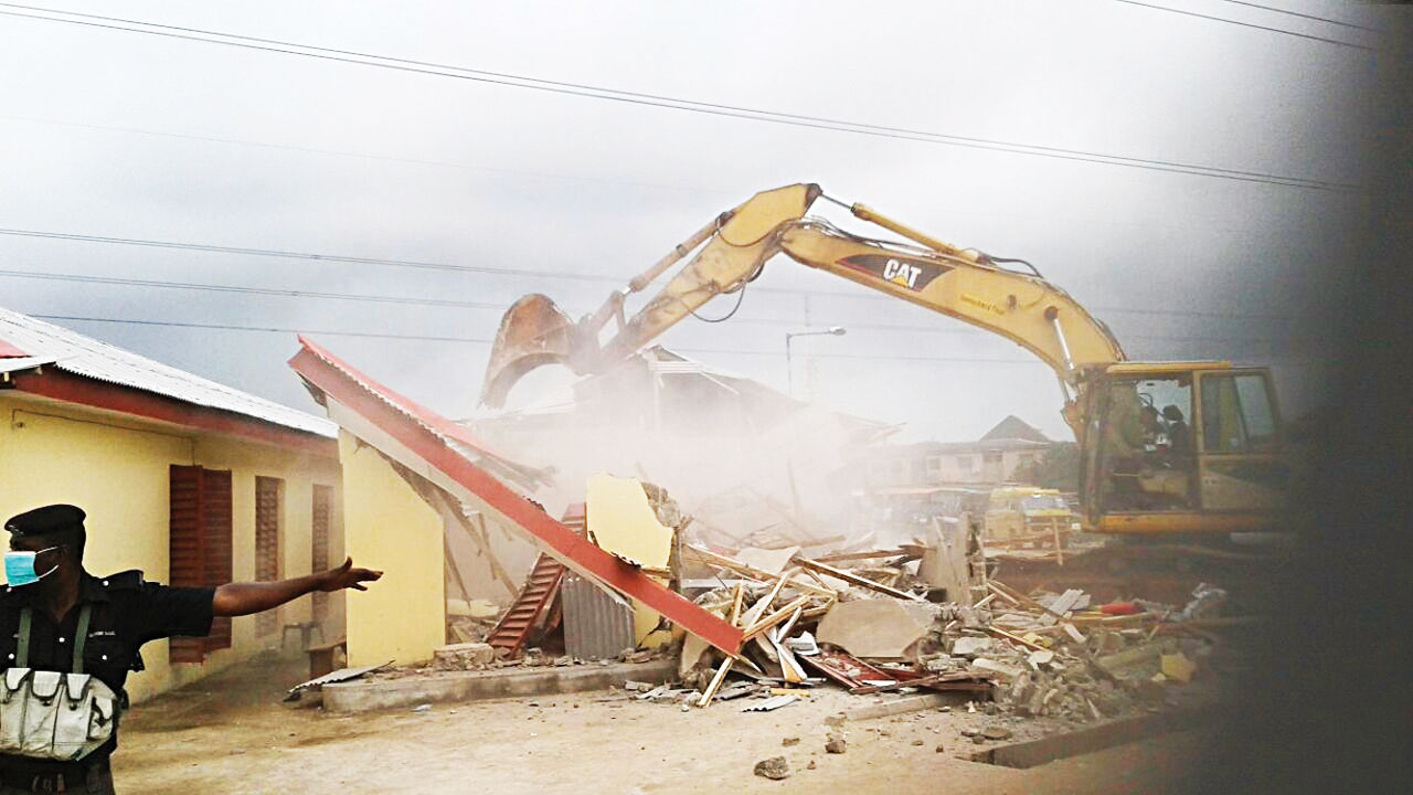 The demolished shops and buildings.