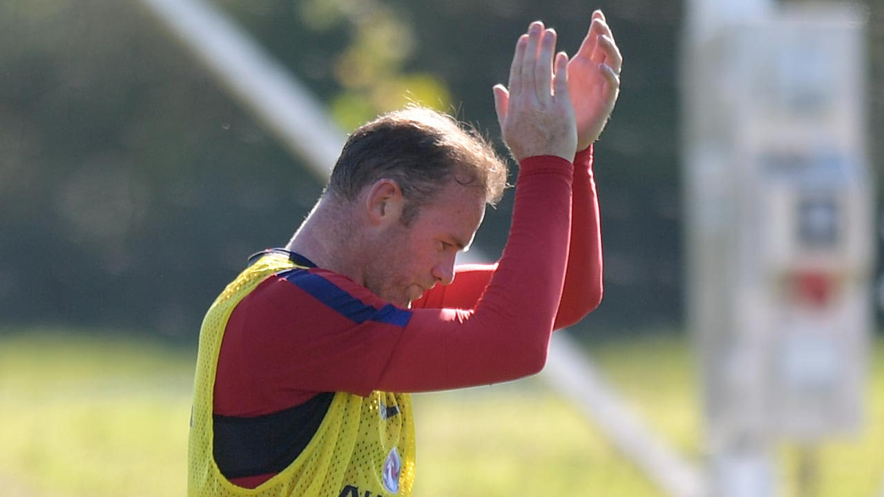 England's striker Wayne Rooney takes part in a training session at St George's Park near Burton-Upon-Trent in central England on August 30, 2016 ahead of their World Cup 2018 qualifier football match against Slovakia. England face Slovakia in a World Cup qualifier in Trnava on September 4. Anthony Devlin / AFP