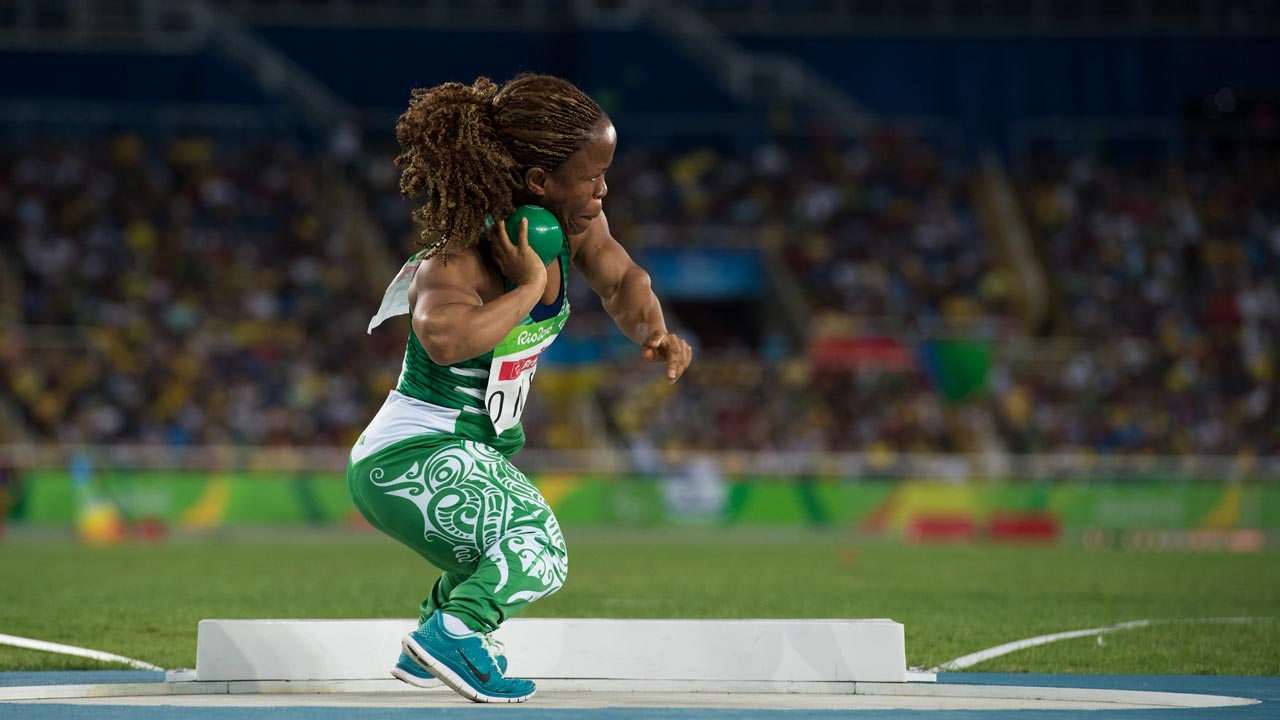Handout image supplied by OIS/IOC showing Nigeria's Lauritta Onye, Gold Medal winner in the Women's Shot Put - F40 Final in the Olympic Stadium, during the Paralympic Games, in Rio de Janeiro, Brazil, on September 11, 2016. Photo by Thomas Lovelock for OIS/IOC via AFP.